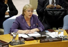 United Nations Women Executive Director Michelle Bachelet addresses a meeting of the UN Security Council marking the 10th anniversary of Resolution 1325 on women, peace and security - October 26, 2010.