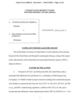 The first page of the federal government's complaint against OG&E