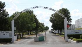 Entrance to the Oklahoma State Penitentiary in McAlester. The warden, Anita Trammell, is the first woman to head the prison.