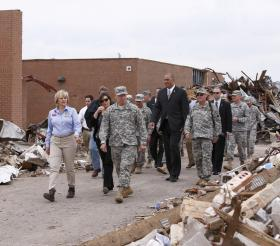 Gov. Mary Fallin tours the site of Plaza Towers Elementary School in Moore days after the May 20 tornado.
