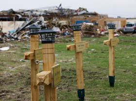 Wooden crosses at the Plaza Towers Elementary School in Moore stand in memory of the seven students killed during the May 20, 2013 tornado.