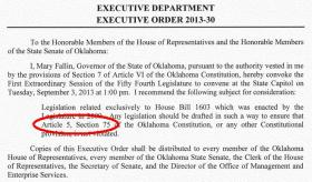 "Gov. Mary Fallin's August 12, 2013 executive order. Democratic Senate Leader Sean Burrage called the special session ""a waste of time and taxpayer dollars."" In a news release, he said it will cost close to a $250,000 to fix a problem he says was created by the Republican majority."