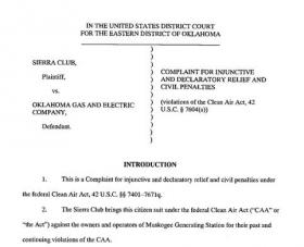 The first page of the Sierra Club's lawsuit against OG&E.