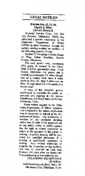 The official notice of the mine application that ran in a Hobart newspaper for a month in 2004