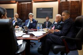 President Barack Obama meets with his National Security Staff to discuss the situation in Syria, in the Situation Room of the White House, Aug. 30, 2013.