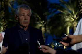U.S. Secretary of Defense Chuck Hagel talks to members of the media April 25, 2013, in Abu Dhabi, United Arab Emirates. While briefing reporters, Hagel announced that the White House had released a statement saying it had evidence that Syrian President Bashar al-Assad had used chemical weapons against Syrian rebels.