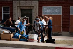 "Film Crew At Work On ""August: Osage County"" In Pawhuska"