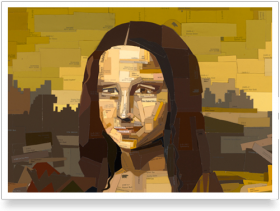 Paint swatch Mona Lisa painting