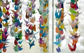 Example of Japanese folded paper cranes