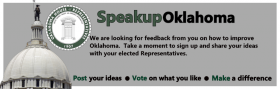 The banner image from speakupoklahoma.com, a new website intended to collect information for members of the Oklahoma House of Representative.