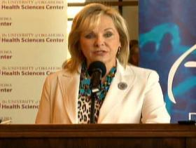 Gov. Mary Fallin announcing a $20.3 million grant to the University of Oklahoma Health Sciences Center in collaboration with Oklahoma Medical Research Foundation and other institutions across the state.
