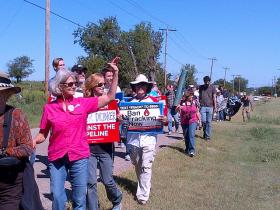 Activists in Oklahoma protesting the Keystone XL Pipeline on Sept. 21, 2013.