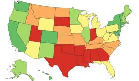 Red-colored states, including Oklahoma, are the bottom ten in the rankings of how women fare in a variety of indicators.