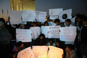 Protesters at India Gate in Delhi demanding the government to take action after the gang rape - Dec. 21, 2012.