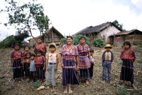 A Kakchiquel family in the hamlet of Patzutzun, Guatemala.