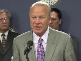 Former University of Oklahoma football coach Barry Switzer speaking during a press conference announcing an interim study to investigate some of the practices and procedures used by the Oklahoma Secondary Schools Activities Association in responding to complaints and handling student appeals.