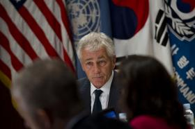 Secretary of Defense Chuck Hagel briefs the press in Seoul, Republic of Korea October 1, 2013. Hagel answered question regarding the government shutdown.