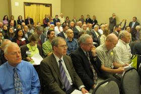 A larger than usual crowd packs the OWRB's monthly meeting in Midwest City to hear the board vote Wednesday afternoon.