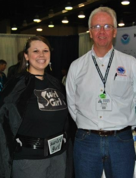 Katie Western as Swirl Girl and Rick Smith at the 2012 National Weather Festival.