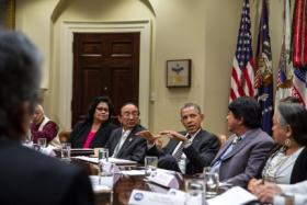 President Obama meets with a group of tribal leaders in the Roosevelt Room of the White House, Nov. 12, 2013.