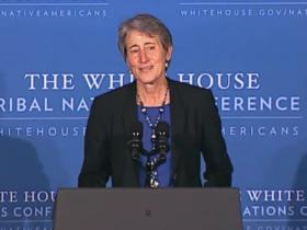 U.S. Secretary of the Interior Sally Jewell speaking during the 2013 White House Tribal Nations Conference - November 13, 2013