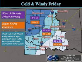 The National Weather Service says wintry conditions are expected through the weekend. Friday will be a cold and windy day.