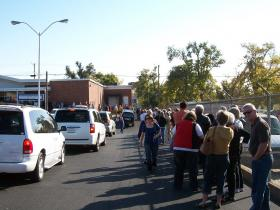 Voters line up in Tulsa for early voting - October 31, 2008.