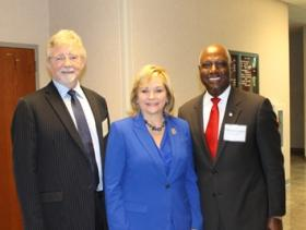 Gov. Mary Fallin (center) with Secretary of Science & Technology Steve McKeever (left) and OCAST Executive Director Michael Carolina (right)