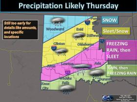 The National Weather Service encourages residents to prepare for a possible winter storm that could bring a mix of freezing rain, sleet and snow to Oklahoma.