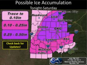 An ice storm warning remains in effect until 6 a.m. Sunday for much of Oklahoma.