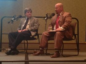 NOAA's Harold Brooks and Representative Joe Dorman speak at the Nov. 19 KGOU Panel.