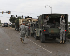 Oklahoma National Guard soldiers and airmen respond to the Moore tornado on May 20, 2013.