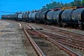 railroad oil cars on a track