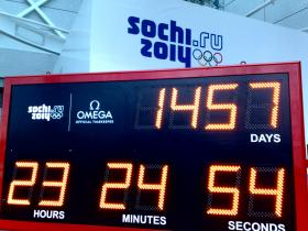 A countdown to the 2014 Olympics in Sochi, Russia taken February 10, 2010.