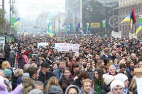 Thousands of Ukrainians protest the scrapping of a trade pact with the European Union on the streets of Kiev - November 24, 2013.