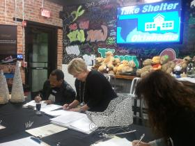 Take Shelter Oklahoma working on their first petition drive.