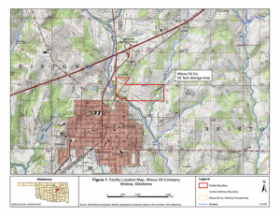 A map from the EPA shows the location of the 125-acre Wilcox Oil Company Superfund site near Bristow, Okla.