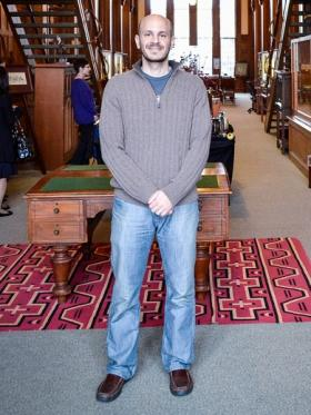 Fady Joudah in the University of Oklahoma's Western History Collection's reading room.