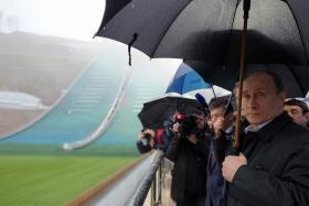 Russian President Vladimir Putin inspects ski jumping slides at one of the sites for the 2014 Winter Olympics in Sochi.