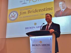 U.S. Rep. Jim Bridenstine (R-Tulsa) speaks to attendees January 22, 2014 at a congressional forum in Broken Arrow.
