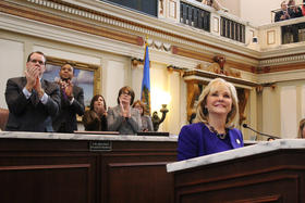 Gov. Mary Fallin delivers the 2014 State of the State address as Lt. Gov. Todd Lamb and House Speaker T.W. Shannon (R-Lawton) look on - February 3, 2014.