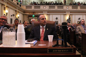 State Rep. Jeff Hickman (R-Fairview) at Gov. Mary Fallin's State of the State address - February 3, 2014.