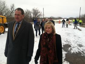 Gov. Mary Fallin tours the closed James C. Nance Bridge over the Canadian River - Feb. 7, 2013