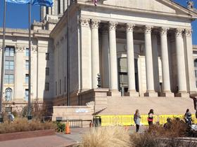 Barricades surround the south steps of the Oklahoma Capitol.