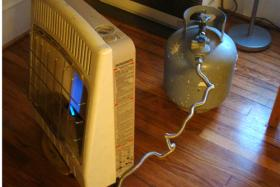 heater connected to a propane tank
