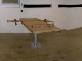 gurney for lethal injections in an execution chamber
