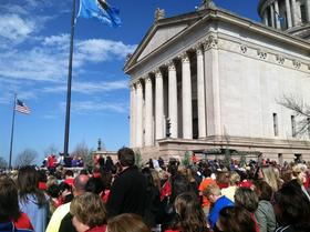 On the south side of the state Capitol, thousands of education supporters cheered as speakers outlined why more funding for Oklahoma's public schools and the 678,000 students they teach is needed.