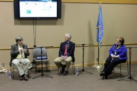 Harold Brooks, Rick Smith and Michelann Ooten speak about storm safety at The Oklahoma Tornado Project's March 12, 2014 forum.
