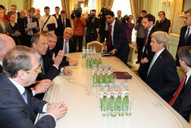 U.S. Secretary of State John Kerry meets with Russian Foreign Minister Sergey Lavrov in Paris, France, on March 5, 2014.