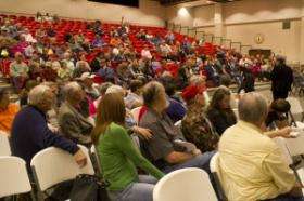 Texoma area residents ask questions during a community meeting at Kingston High School March 15